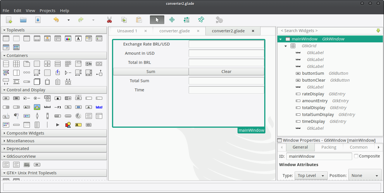 Graphical User Interface with Gtk